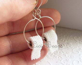 Toilet Paper earrings on hoops  in sterling silver or gold tone