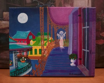 New Orleans Art / Full Moon / Ghostly Angel/ From Original Painting Spirit of NOLA / Secrets of NOLA / Certificate of Authenticity