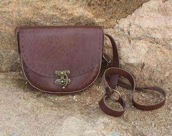 Brown Leather Handbag/Purse/Cross-body Purse - Handmade in Turkey
