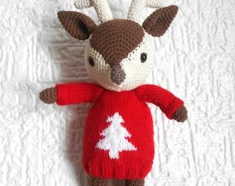 Reindeer in sweater - amigurumi, birthday gift, stuffed animal, christmas sweater, crochet toy, unisex gift ideas, ugly christmas sweater