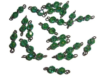 Beaded links Faceted Green AB beads 6mm 20pcs