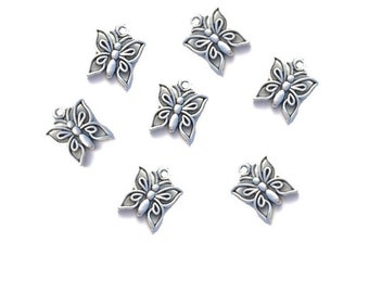 15MM  Silver  Butterfly  Charms ,  16 Pcs