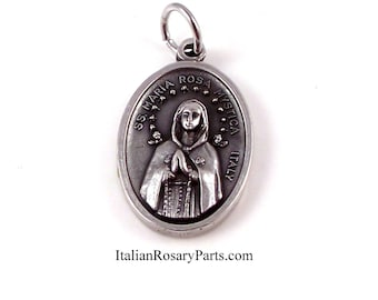 Maria Rosa Mystica Virgin Mary Religious Medal | Italian Rosary Parts