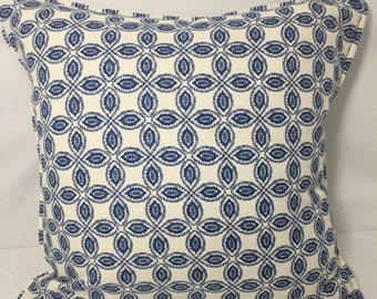 """20"""" SQ. Blue and ivory geometric leaf pillow cover"""