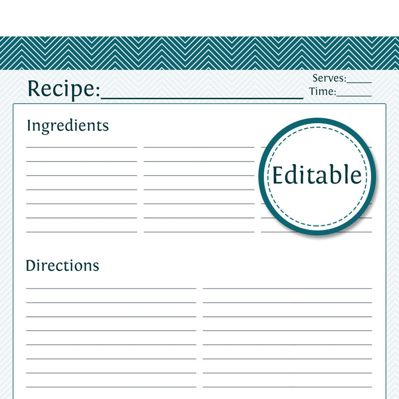 Recipe Card Full Page Fillable Printable PDF Instant