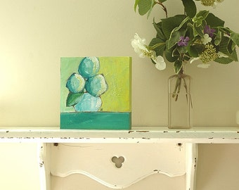 Original Acrylic Painting - Always a Favorite - whimsical art, flower, garden, snowball, hydrangea, abstract, painterly