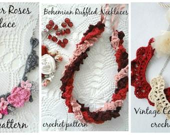 CROCHET PATTERN PACK #24 digital patterns,crochet roses,crochet flowers,crochet necklace,ruffled necklace, vintage necklace, pattern bundle