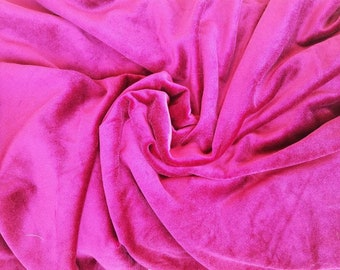 "Magenta Velvet Sewing Fabric - Vintage Soft Fabric Yardage, Costume + Upholstery + Pillow Material, Skirt Fabric, Regency Style , 142""×61"""
