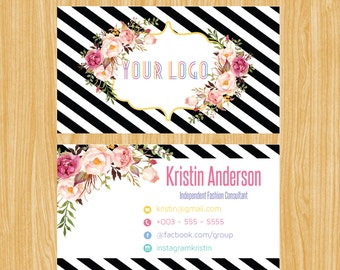 Business Card,Personalized Business Calling Card, Black Gold Floral Small Business Card01 | BC_01