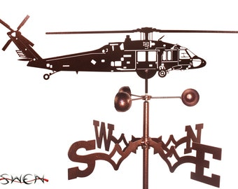 Hand Made Black Hawk Helicopter Weathervane New