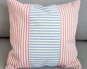 Red and Blue Ticking Pillow Cover, Decorative Pillow, Various Sizes