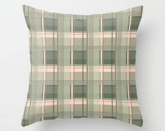Tartan Cushion, Green Pink Decorative Pillow, Checkered Throw Pillow, Moss Green Cushion Cover, 14x14 16x16 18x18 20x20, Plaid Cushion