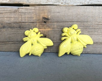 Bright Yellow BEES .. great for Teen Bedroom Dorm Decor Yellow Grey Gray White Nursery decor