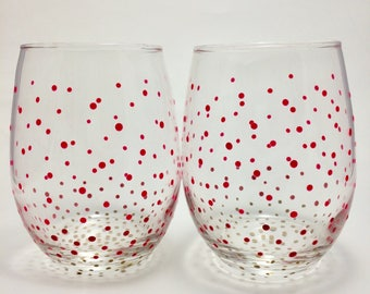 Pink and Gold Ombre Wine Glasses (2)