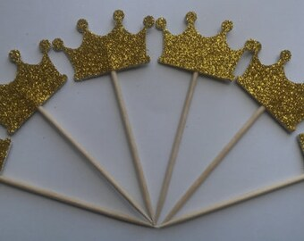 """Gold Glitter Crown Double Sided Cupcake Toppers Cake Centerpieces Party Picks 1 1/2"""" Wide"""