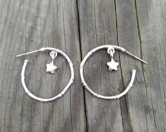 Bambu HOOP EARRINGS matte SILVER plated