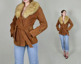 1970's Sienna Suede and Shearling Almost Famous Jacket Suede Leather Wrap Coat