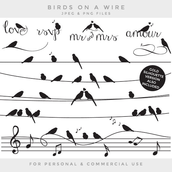 Birds on a wire clipart - gold black silhouette whimsical cute ...