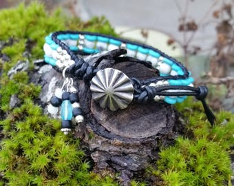 Turquoise/Howlite Single Wrap Leather Bracelet/Leather Wrap,Beaded Wrap Bracelet,Greatest Joy Gifts,Blackhawk umbrella Concho Button,charms