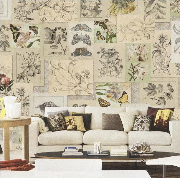 papier peint botanique vintage shabby chic papillon plante. Black Bedroom Furniture Sets. Home Design Ideas