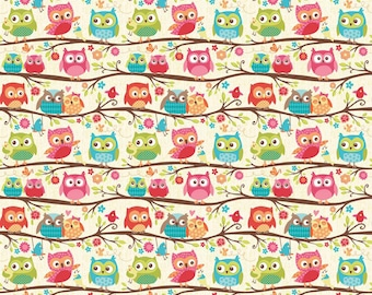 Happy Flappers Owl knit fabric by Riley Blake Designs cream knit fabric with pink green blue owls 60 wide stretch knit fabric