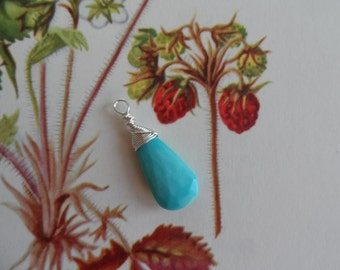 Sleeping Beauty Turquoise Briolette Pendant and Focal Wire Wrapped