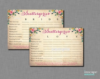 Scattergories Game Printable, Floral Bridal Shower Game, Shabby Chic, 2 Unique Variations - LOVE & BRIDE, Garden Shower Downloadable Game
