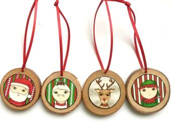 Christmas Ornaments Santa, Rudolph, Mrs. Claus, Elf