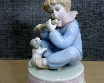 Vintage Musical Clown, Young Boy Clown Playing a Flute With Puppy, Musical Clown Made by Meico Inc, Turning Musical Clown - V230