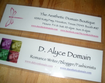 Personalized Bookmarks for Self-Marketing, Small Business Promotion, Grand Opening/Special Event (Quantity of 4)