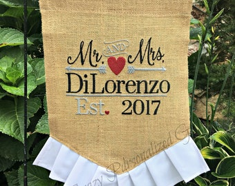 Wedding Flag, Wedding Decor, Wedding Sign, Flag, Garden Flag, Wedding Sign, Wedding Banner, Burlap Garden Flag