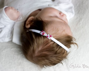Baby Headbands, Headband, Girl Headbands, Hair bands, Newborn Headbands - Little Rose Floral Satin White Bow - Golden Beam