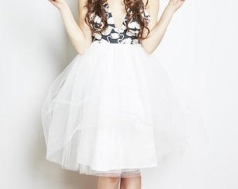 Swan print tulle dress, party dress, prom dress, tulle bridesmaid dress, ballerina dress, swan lake, black swan, reception dress