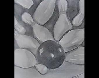 "original artwork, OOAK, graphite ""Strike"", sports, mancave, game room, sketch, bowling"