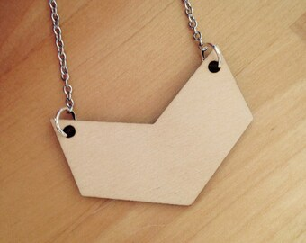 Wooden Chevron Necklace, Statement Jewelry, Geometric Wood Necklace