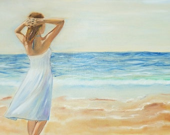Original oil painting,  landscape art,  romantic woman art,  sea painting, oil painting, original art, oil painting on canvas