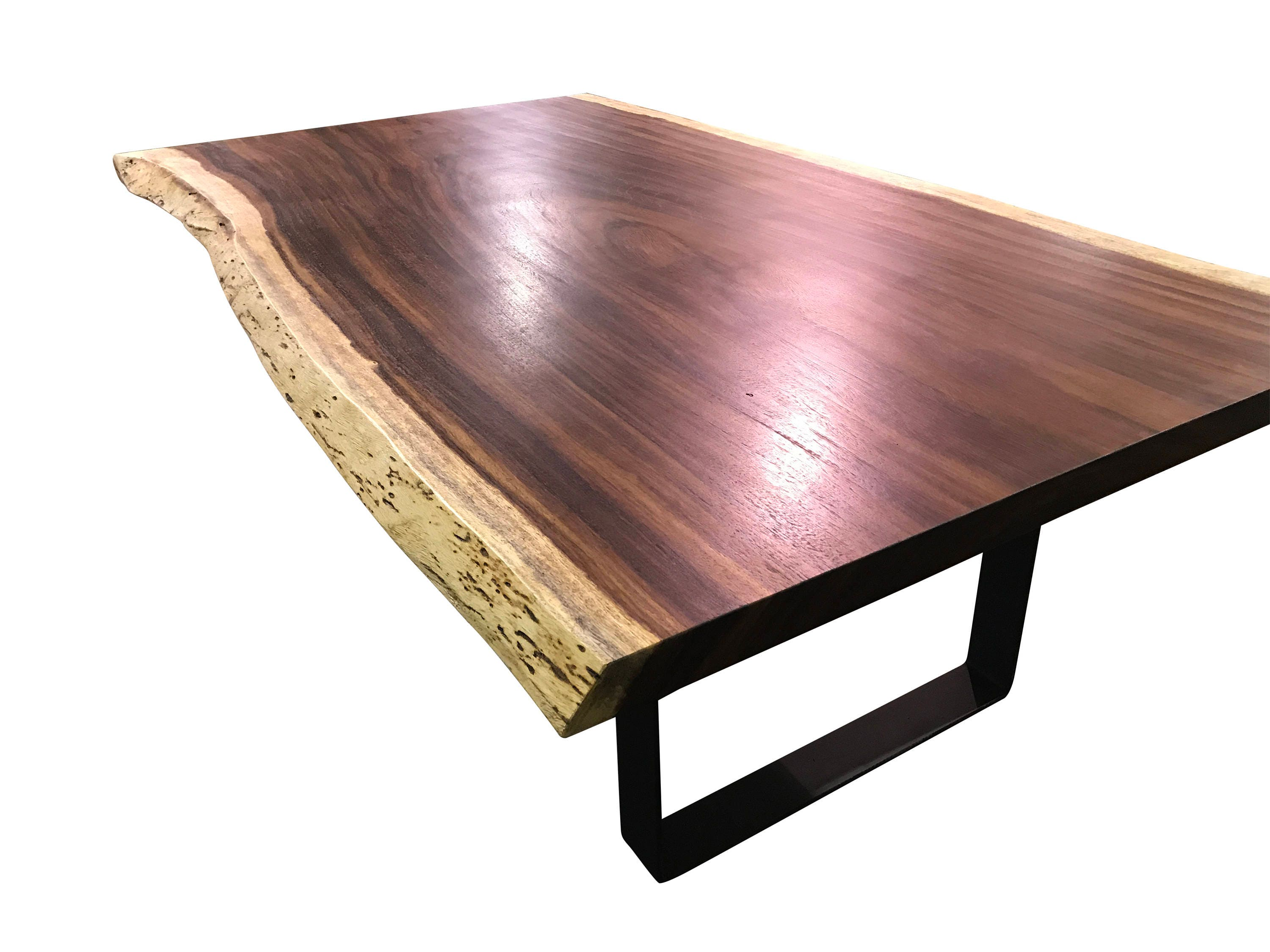 Live edge dining table, Live edge with steel flat legs, unique dining table, custom slab table, conference table