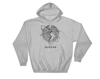Queens Flushing New York Unisphere Design Hooded Sweatshirt