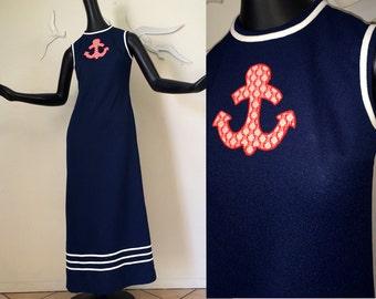 1970s Vintage Nautical Dress 70s Rockabilly Maxi Dress Hippie Boho Navy Blue Red Anchor Sailor Dress Sleeveless Summer Dress Maxi Dress SM