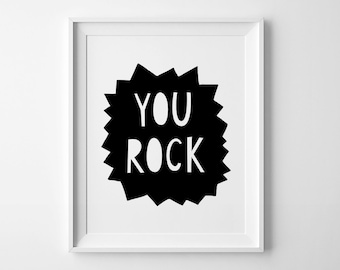Kids room decor, black and white nursery art, nursery wall art print, mini learners, you rock, nursery print, boys room decor, nursery quote