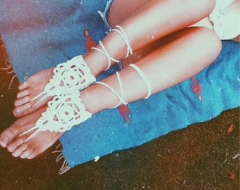 Bohemian Dreamcatcher Barefoot Sandals. Hand Crocheted Vegan Friendly Cotton. Festival Beach Wedding Sandals. Gypsy Feet. More Colors!