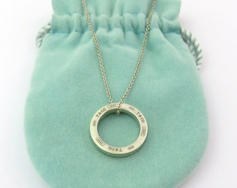 Authentic TIFFANY & CO Sterling Silver 1837 Circle Pendant Necklace