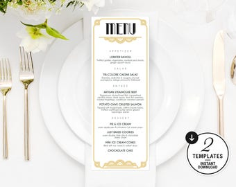 Instant Download, Printable Wedding Menu, Great Gatsby Wedding Menu, Art Deco Wedding Menu, Wedding Menu Template, Wedding Menu Card