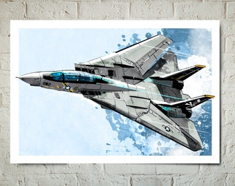 Airplane - F-14 Tomcat - Airplane Art, Military Gift, Airplane Print, Aviation, Airplane Nursery, Pilot gift, Airplane Decor, Art print