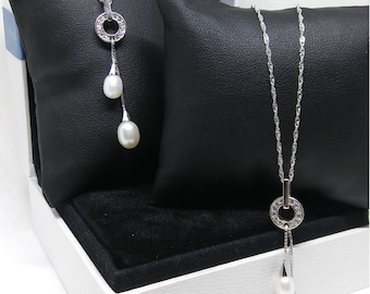 Freshwater Pearl NECKLACE, circle of zirconia pure 925 Silver chain, mothers day gift