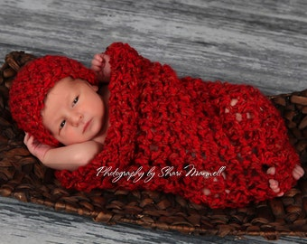 Newborn Cocoon and Hat Set in Red