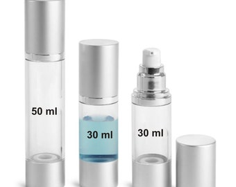 MagnaKoys (1/2oz - 1oz - 1.5oz) Clear Empty AS Airless Pump Bottles w/ Silver Pumps & Caps for lotions and gels Dispenser (3 Pack)