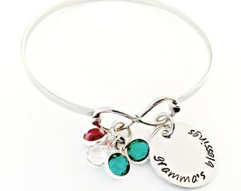 Personalized Grandmother Bracelet - Infinity Bangle - Custom Hand Stamped Mother, Nana, Mimi, Gigi Blessings Gift with Swarovski Birthstones