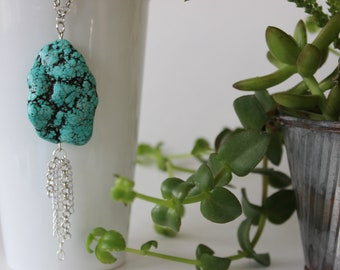 Simple Boho Blue Green Magnesite Stone and Chain Fringe Long Necklace