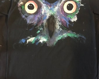 Hand Painted Owl T Shirt